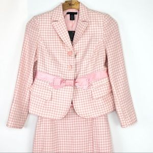 NWT Apostrophe PINK and White Checkered Skirt Suit